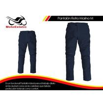 Pantalón Retro Marino Motojac - Pantalones Con Protección