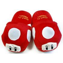 Super Mario Brothers Seta Roja Felpa Zapatillas