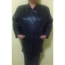 Chamarra-abrigo De Piel Color Negro Talla 38-40 Usada