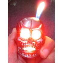 Encendedor Calavera Red Skull Luz Led Sonido Recargable