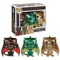 Funko Pop Drogon Rhaegal Viserion Metalicos Exclusivo Dragon
