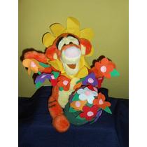 Peluche Tiger Winnie Pooh Con Flores Original Disney 34 Cms