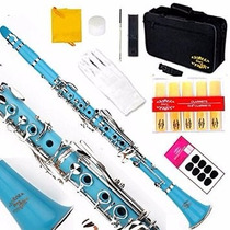Clarinete Glory B Profesional Instrumento Musical Azul Claro