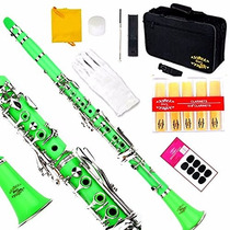 Instrumento Musical Clarinete Glory B Profesional Verde
