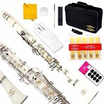 Clarinete Glory B Profesional Musical Con Accesorios Blanco