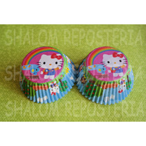 *capacillos Hello Kitty Arcoiris Muffin Cupcake Fondant*