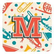 Conjunto De 4 De La Letra M Retro Teal Orange Instrumentos M