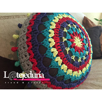 Hermoso -puff Pillow Mándala De Trapillo-