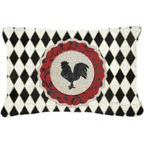Gallo Arlequín Negro Y Blanco De Tela De Lona Almohada Deco