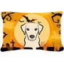 De Halloween Labrador Amarillo Tela Almohada Decorativa Bb17