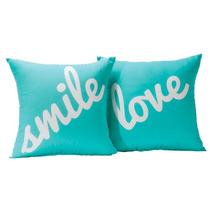 Juego De 2 Cojines Decorativos Love Smile Turquesa Concord