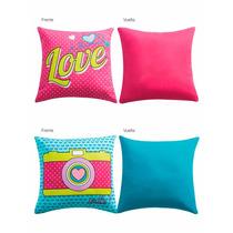 2 Cojines Click, 2 Vistas Rosa Y Azul - Vianney Vianey Vng