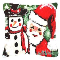 Amigos Muñeco De Nieve Y Santa Claus Tela De Lona Almohada