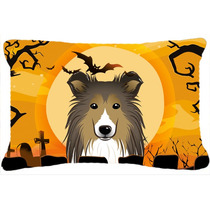 Tela De Halloween Sheltie Almohada Decorativa Bb1800pw1216
