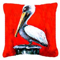 Bird - Pelican Red Dawn Tela De Lona Almohada Decorativa Mw1