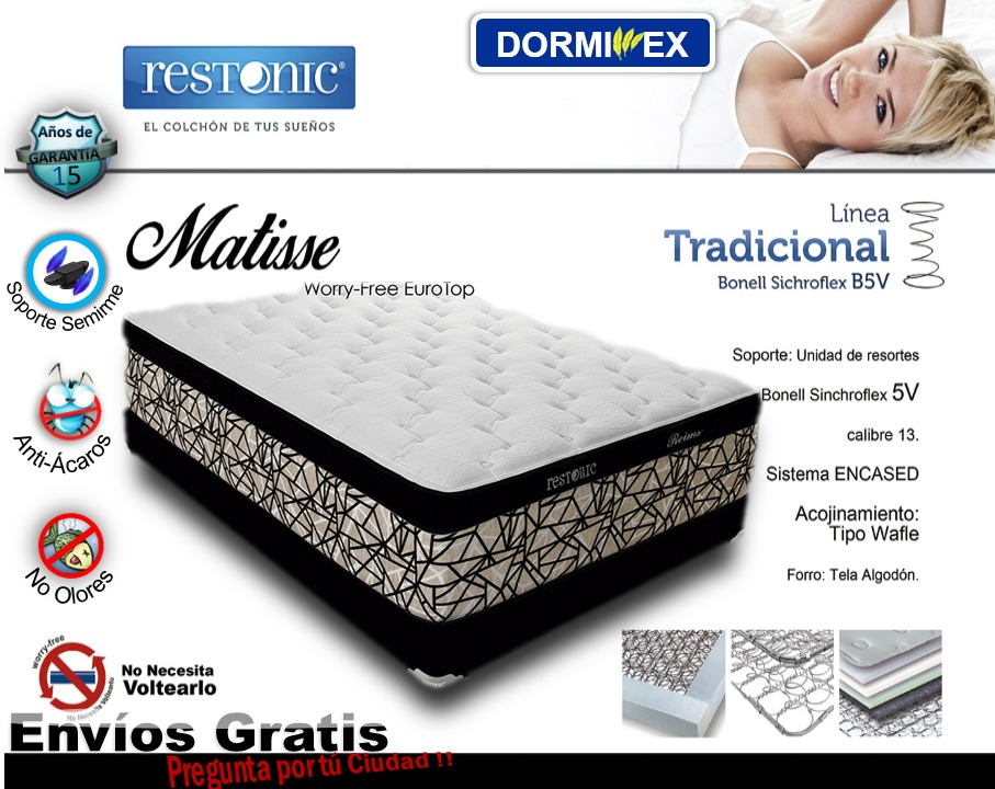 Colch n matisse restonic king size dormimex 14 for Base para colchon king size