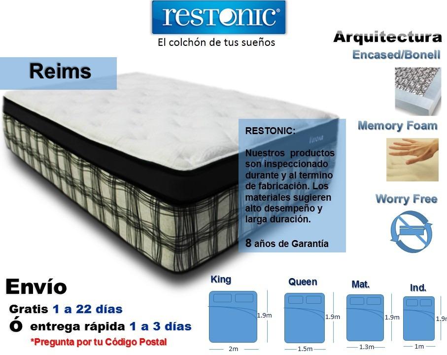 Colch n para cama individual reims env o gratis restonic for El mejor colchon king size
