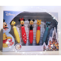 Disney Set De Plumas Mickey Minnie Pooh Stitch Y Miss Bunny