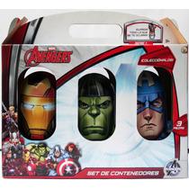 Set De 3 Contenedores Marvel Iron Man Hulk Capitan America