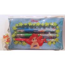 La Sirenita Ariel Disney Kit Plumas De Gel Y Stickers/nuevo