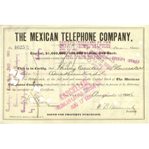 Acción Bono The Mexican Telephone Company 1905