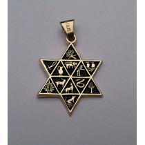 Dije Estrella De David Con Las 12 Tribus Hebreo Chapaoro 18k