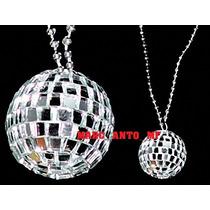 10 Collares Bola Disco Fiestas Batucada Collar Espejo Econom