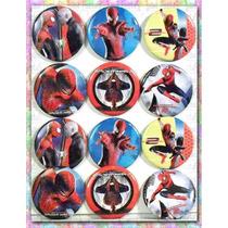 Botones Spiderman Mide 5.5 Cm De Diametro (paq.12 Piezas)