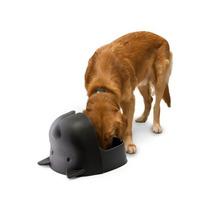 Plato De Croquetas Perro En Forma De Cabeza De Perro Negro