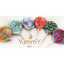 Paletas De Caramelo Espiral 10 Colores Dulces Candy Bar