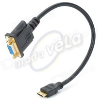 Daptador Cable Mini Hdmi Macho A Vga 15 Pines Hembra Tablet