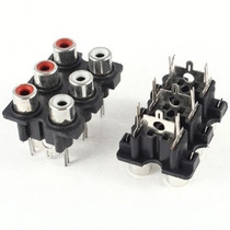 Rca 6 Hembra Socket Negro Para Soldar #69 Socket