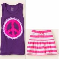 Conj Tcplace Niña Talla 5/6 Falda C/shorts Y Blusa Nuevo