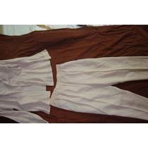 Lino 100% Pantalon&blusa. Bordados Y Forro Interior Nuevo