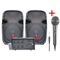 Paquete Mezcladora + 2 Bafles Pack 3800w Pmpo Microfono Dj