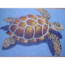 Mosaico Veneciano Tortuga Marina Con Sombra Para Alberca