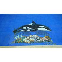Figura Orca Con Bebe Para Alberca En Mosaico Veneciano
