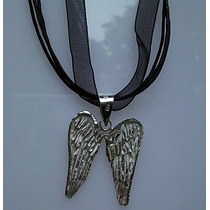 Collar Triple Ajustable Con Dije De Alas De Angel Plata Ley