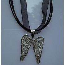 Collar Triple Ajustable Con Dije De Alas De Angel Plata Ley