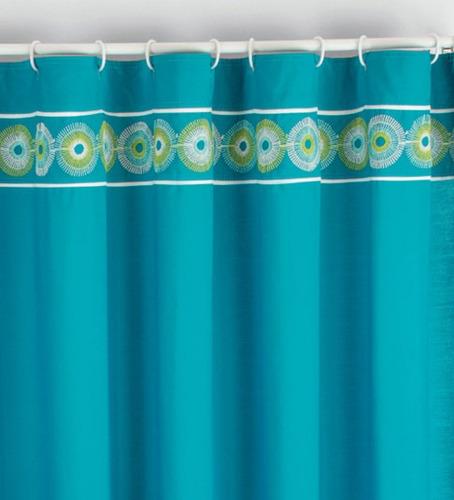 Accesorios Baño Turquesa:Cortina Para Baño Bordada Carey Turquesa Vianney Vianey Hm4 – $ 459