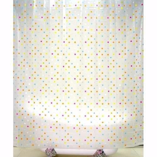Cortina para ba o eva mosaico con 12 ganchos ba 425526 for Ganchos para cortina bano