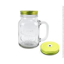 Mason Jar Labrado Tapa Perforada Dorada /24 Piezas