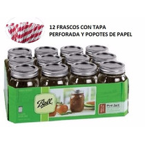 Mason Jar Caja De 16 Oz Tapa Perforada Y Popote!