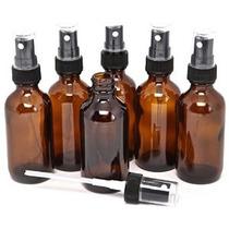 6 Nueva Alta Calidad 2 Oz Botellas De Vidrio Ámbar Con Negro
