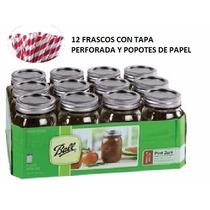 Mason Jars De 16 Oz A Super Precio Tapa Perforada Y Popote!