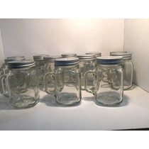 12 Mason Jar Con Asa Y Tapa