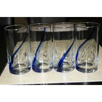 4 Vaso De Pedrada Liston Azul Crisa Libbey