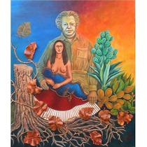Cuadro Tema Frida Kahlo Técn. Mixta/madera Matern. Frustrada