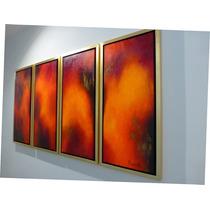 Pintura Acrilica Sobre Tela Fuego 30x70x4cm Cada Uno