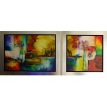 Pintura Técnica Mixta Sobre Tela Dreams 100x70x4 Y 70x70x4cm